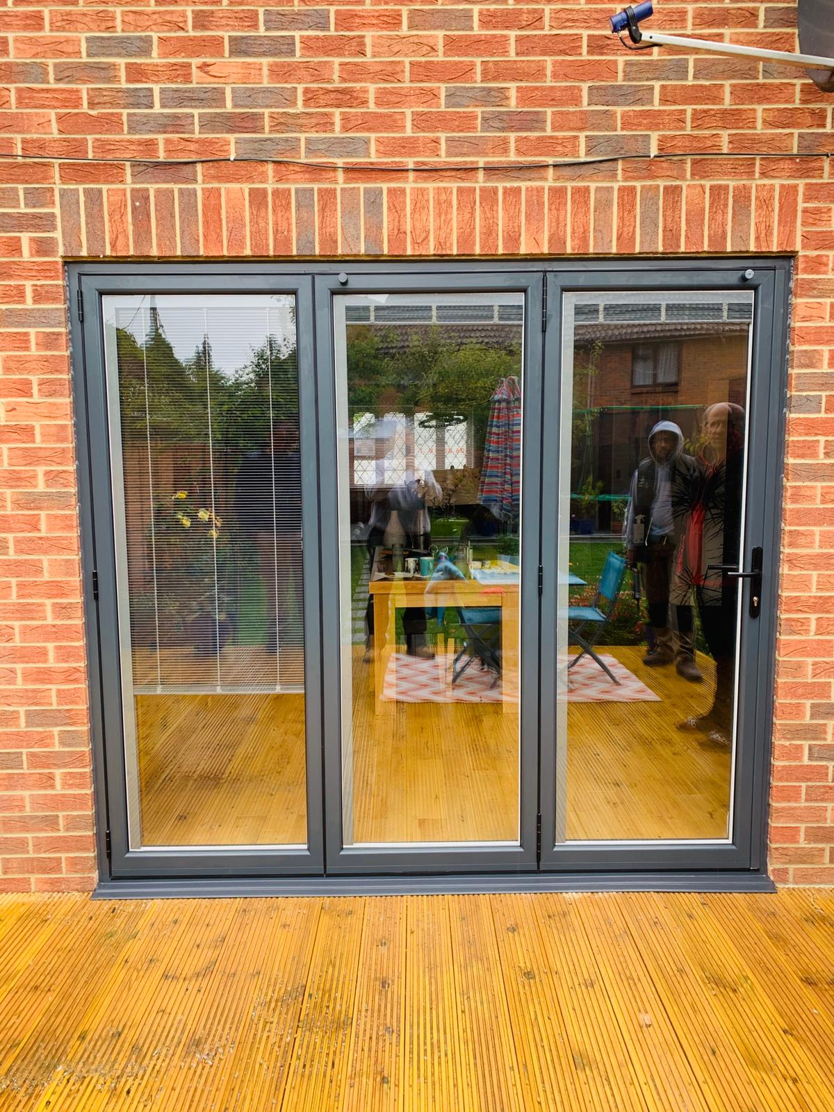 Bifold doors made up of three panes