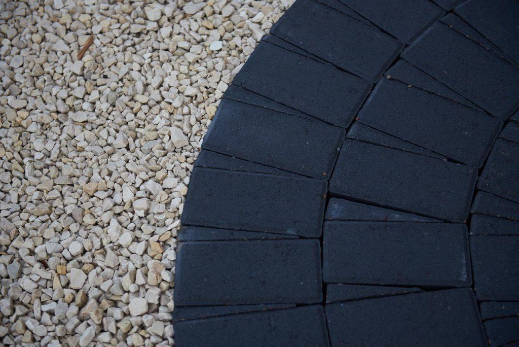 Close up of circular patio in front garden